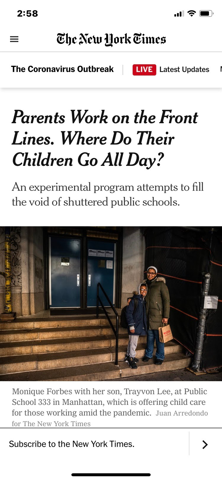 Parents Work on the Front Lines. Where Do Their Children Go All Day? | The New York Times